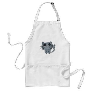 Cute Grey Cat with big black eyes Aprons
