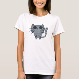 Cute Grey Cat with big black eyes T-Shirt
