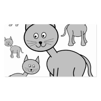 Cute Grey Cats. Cat Cartoon. Pack Of Standard Business Cards