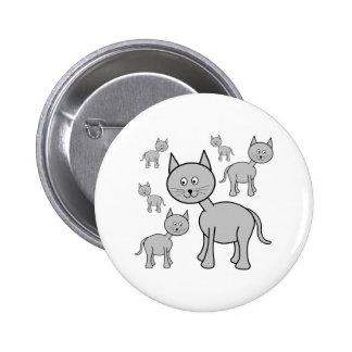 Cute Grey Cats. Cat Cartoon. Button
