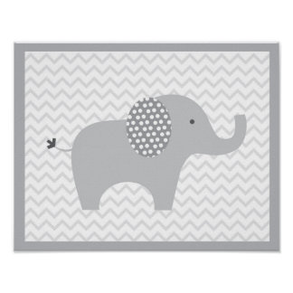 Cute Grey Chevron Elephant Nursery Poster