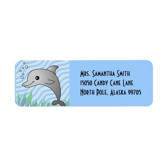 Cute Grey Dolphin in Blue Water Return Address Label