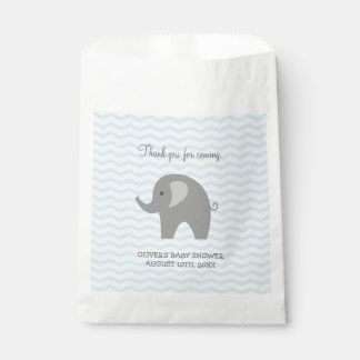 Cute grey elephant baby shower paper favor bags
