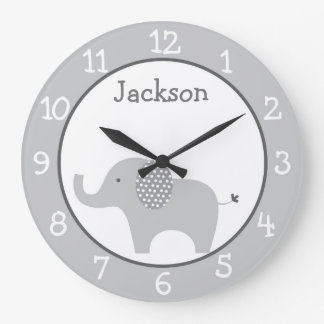 Cute Grey Elephant Nursery Large Clock