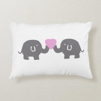 Cute Grey Elephants Pink Hearts Kids Throw Pillow