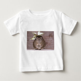 Cute Grey Guinea Pig Wearing a Leaf Hat Baby T-Shirt