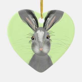 Cute Grey Hare Whimsy Illustration Ceramic Heart Decoration