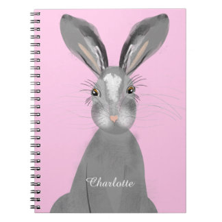 Cute Grey Hare Whimsy Illustration Notebook