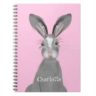 Cute Grey Hare Whimsy Illustration Personalized Notebook