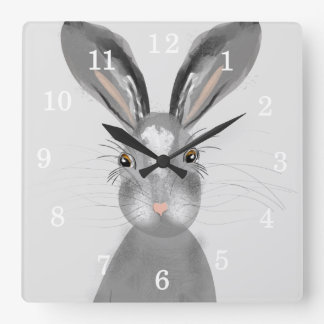 Cute Grey Hare Whimsy Illustration Square Wall Clock