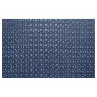 Cute Grey Hearts Pattern on Midnight Blue Fabric