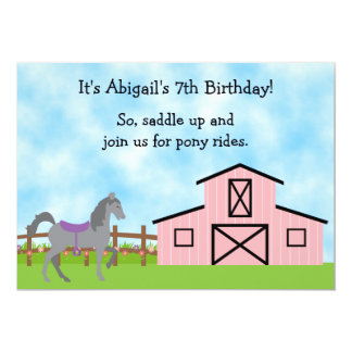 Cute Grey Horse Pony Rides Girls Birthday Invite