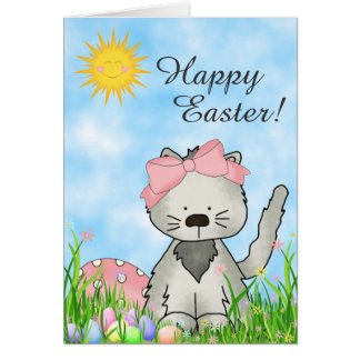 Cute Grey Kitten, Basket and Eggs Happy Easter Cat Card