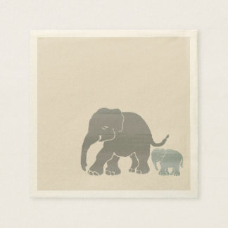 Cute Grey on Ivory Graphic Elephant with Baby Paper Napkin