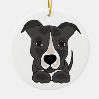 Cute Grey Pitbull Puppy Dog Ceramic Ornament