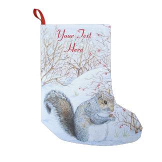 Cute grey squirrel snow scene wildlife art