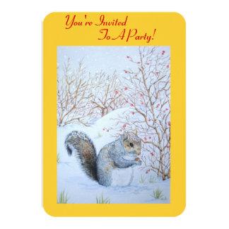 Cute grey squirrel snow scene wildlife art 9 cm x 13 cm invitation card