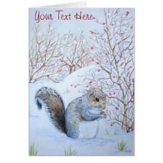 Cute grey squirrel snow scene wildlife art note card