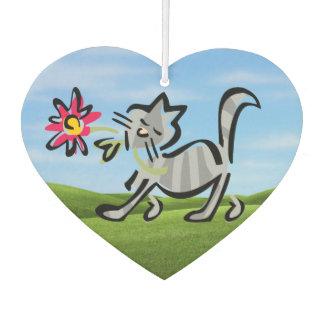 Cute Grey Tabby Cat Car Air Freshener