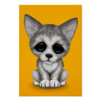 Cute Grey Wolf Cub Puppy on Yellow Poster