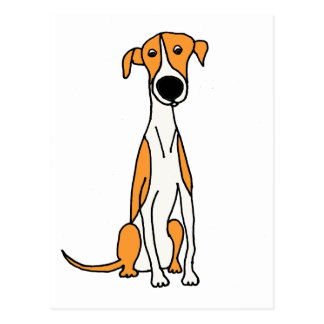 Cute Greyhound Dog Cartoon Original Postcard
