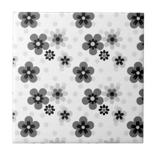 Cute Greyscale Flower pattern Tiles