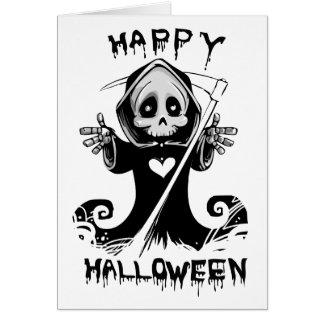 Cute grim reaper halloween card