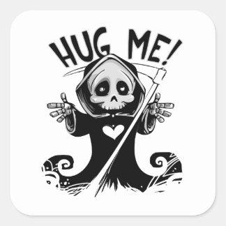 Cute Grim Reaper Hug Me Square Sticker