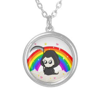 Cute Grim Reaper Silver Plated Necklace