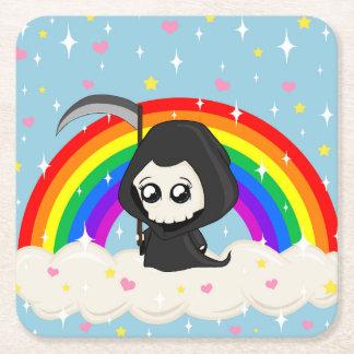 Cute Grim Reaper Square Paper Coaster