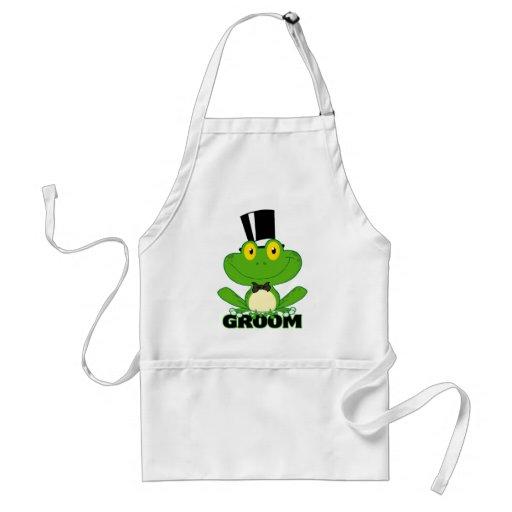 cute groom cartoon frog character aprons