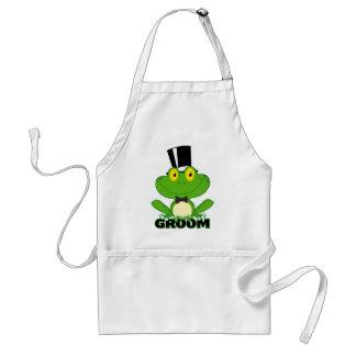 cute groom cartoon frog character standard apron
