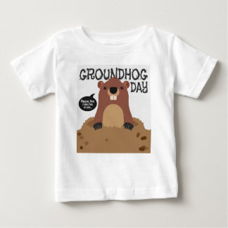 Cute groundhog day cartoon illustration baby T-Shirt