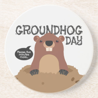 Cute groundhog day cartoon illustration coaster