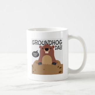 Cute groundhog day cartoon illustration coffee mug