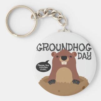 Cute groundhog day cartoon illustration key ring