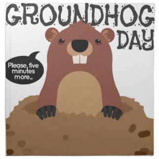 Cute groundhog day cartoon illustration napkin