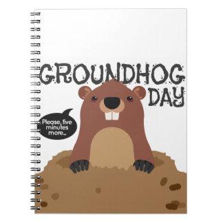 Cute groundhog day cartoon illustration spiral notebook