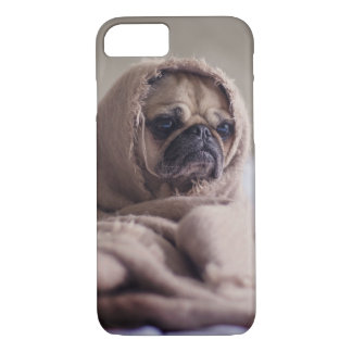 Cute Grumpy Pug Dog in Blanket iPhone 7 Case