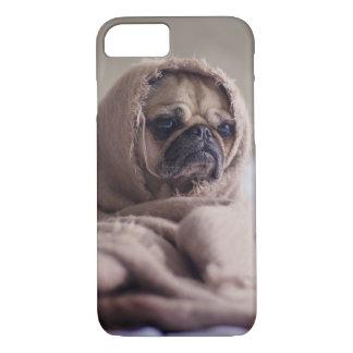 Cute Grumpy Pug Dog in Blanket iPhone 8/7 Case