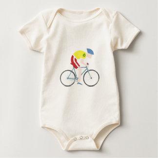Cute grunge cartoon bike rider baby bodysuit