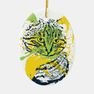 Cute Grunge Cat Portrait Ceramic Oval Decoration