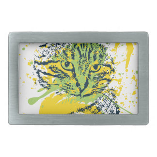 Cute Grunge Cat Portrait Rectangular Belt Buckle