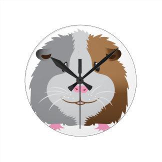 cute guinea pig face round clock