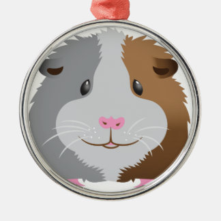 cute guinea pig face Silver-Colored round decoration