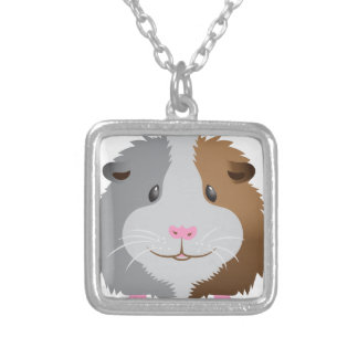 cute guinea pig face silver plated necklace
