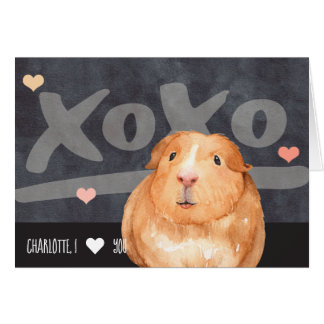 Cute Guinea Pig Personalized Valentines Day Card