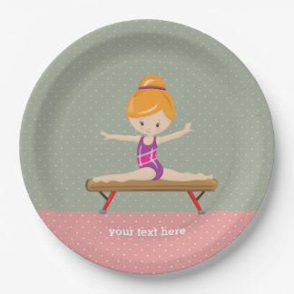 Cute gymnastics girl paper plate