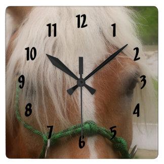 Cute Haflinger Horse Face Animal Square Wall Clock