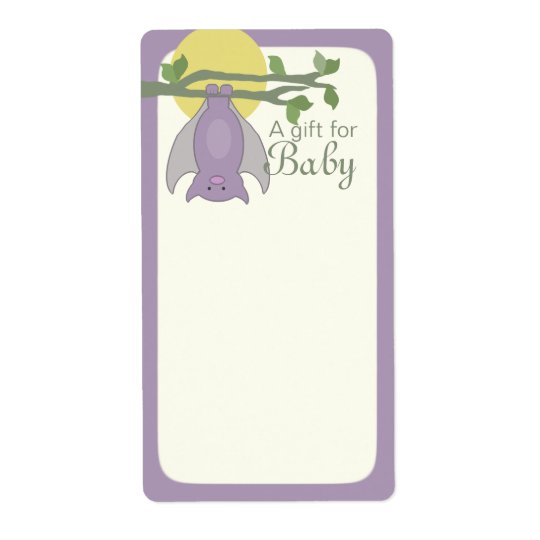 Cute Halloween Bat Book Tags Baby Blue Shipping Label